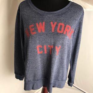 Zoe + Live blue/red high low super soft sweatshirt